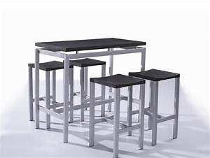 Table Haute Et Tabouret : table haute et 4 tabourets contemporain noir madrid table haute madrid et tabouret ~ Teatrodelosmanantiales.com Idées de Décoration