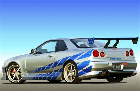 blue nissan skyline fast and furious brian o conner s nissan skyline r34 gt r 2 fast 2