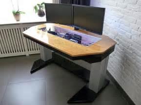 Dual Monitor Standing Desk Diy by Adjustable Custom Computer Desk Mod Fit For A True Geek