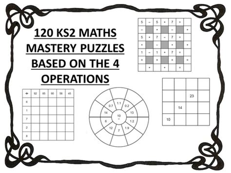 120 ks2 maths mastery puzzles 4 operations by erylands teaching resources