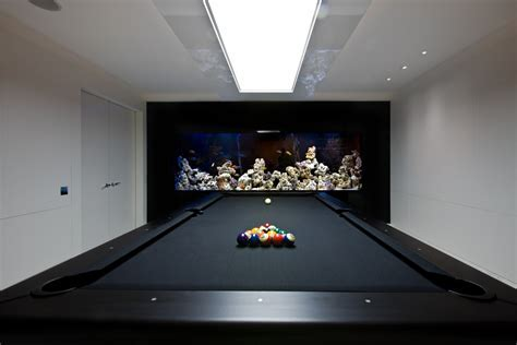 cool pool tables Family Room Contemporary with aquarium