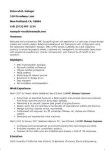 storage engineer resume exle professional emc storage engineer templates to showcase your talent myperfectresume