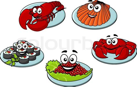 cute funny cartoon seafood delicacies   red lobster