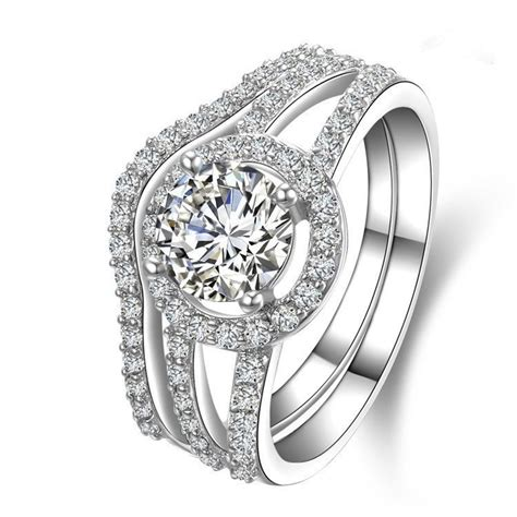 2 ct genuine white gold brilliant style two rings combine authentic simulate diamond wedding
