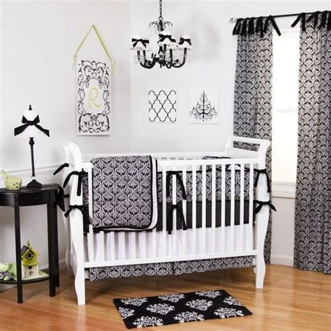 black and white crib bedding black damask crib bedding gender neutral black and white