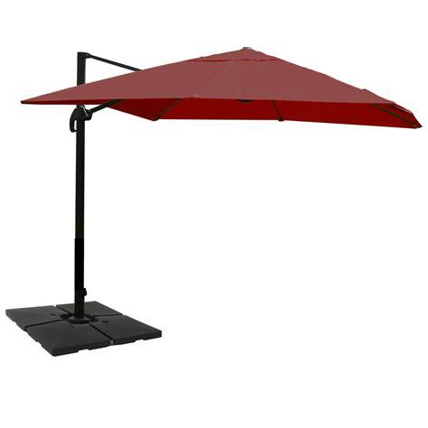 sombrilla idra con base de 3 x 4 metros rojo burdeos ajustable de suelo incluida homy es
