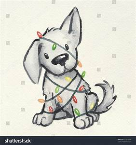Drawn puppy fun christmas - Pencil and in color drawn ...