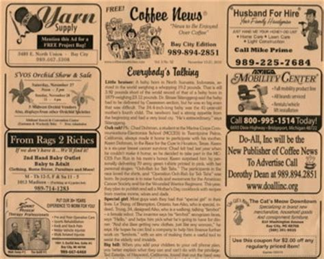 Download 2,637 coffee newspaper stock illustrations, vectors & clipart for free or amazingly low rates! Bay City nonprofit organization, Do-All Inc., purchases Coffee News franchises for $25,000 ...