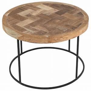 Table Basse Hauteur 60 Cm : table basse ronde bois et m tal 60 cm noldor grenier alpin ~ Nature-et-papiers.com Idées de Décoration