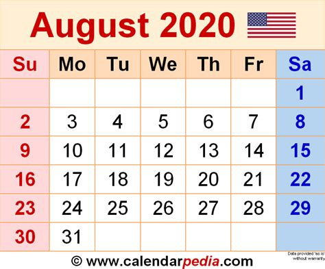 August 2020 - calendar templates for Word, Excel and PDF