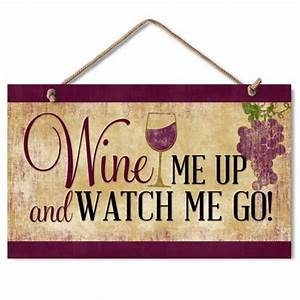 New crackled ivory wine me up plaque wood sign humor