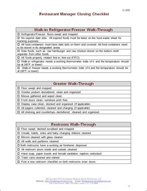 Kitchen Manager Work Description by Restaurant Manager Closing Checklist Closing Duties