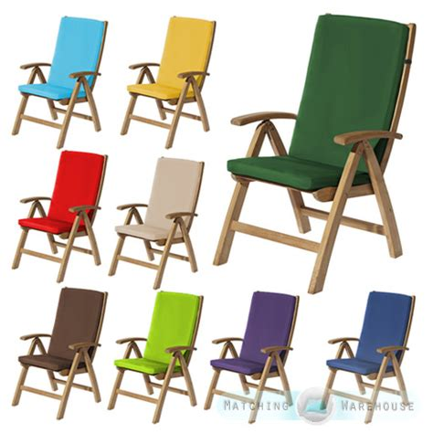 highback garden dining chair cushion pad outdoor furniture high back recliner ebay
