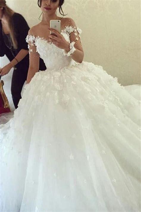 Sheer Long Sleeve Scoop 2018 Ball Gown Wedding Dresses