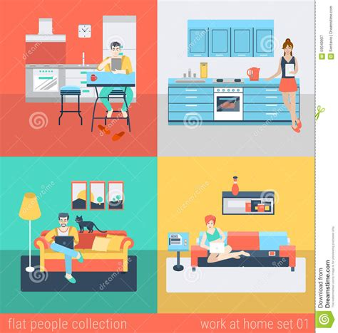sofa room vector flat vector people at home interior in kitchen living