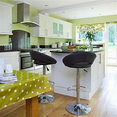 Lime Green Kitchen With White Cabinetry Decorating