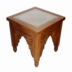 moroccan carved wood side table with glass top from badia With moroccan wooden coffee table