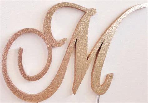 Rose Gold Glitter Monogram Cake Topper (all Fonts) Any