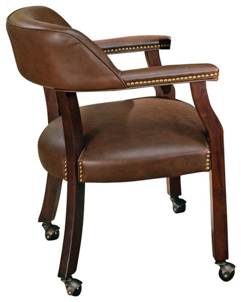 Captains Chairs Dining Room by Steve Silver Tournament Game Chair On Casters In Brown