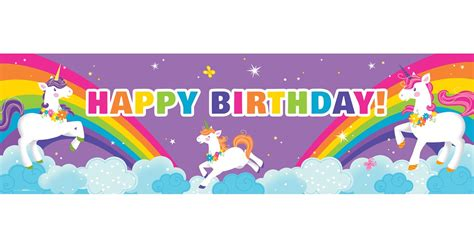 fairytale unicorn party personalized text banner