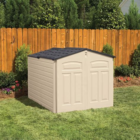 Storage Houses For Backyard by Rubbermaid 96 Cubic Low Profile Slide Lid Outdoor