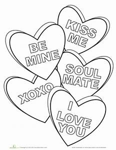 Candy Hearts Coloring Page   Worksheets, Adult coloring ...