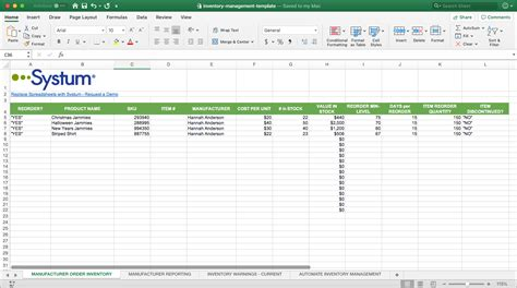 product inventory template inventory list sheet systum
