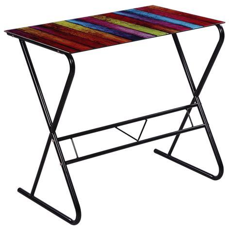 plaque de verre bureau colorful glass desk with rainbow pattern lovdock com