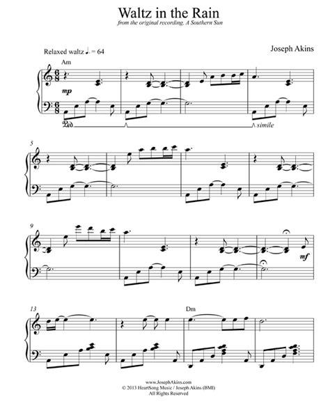waltz   rain solo piano sheet   joseph akins