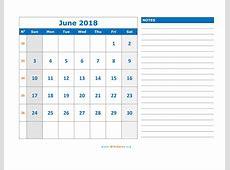 June 2018 Calendar WikiDatesorg