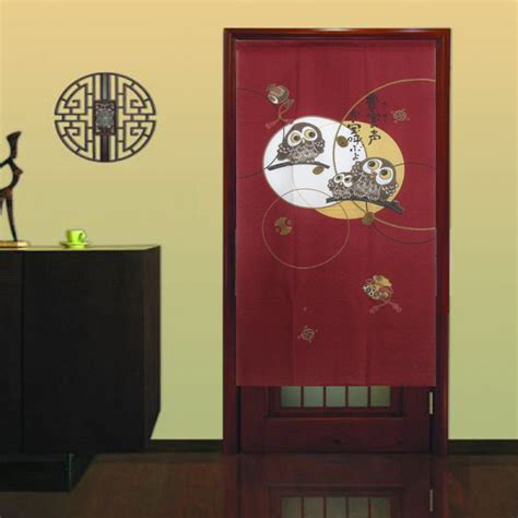 Japanese Drapes - a happy owls family japanese door curtain noren
