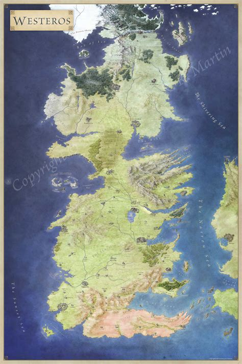 official map  westeros fantastic maps