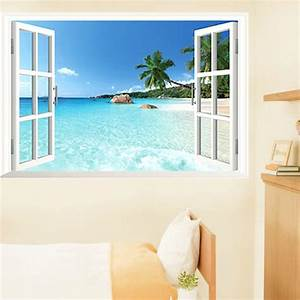beach 3d window view removable wall art sticker vinyl With beautiful beach decals for walls