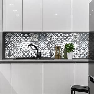 Stickers Carrelage Cuisine 15x15 : 15 stickers carrelages azulejos nuance de gris tendance ~ Dailycaller-alerts.com Idées de Décoration