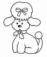 Coloring Pages Christmas Poodle Animals Kleurplaten Dog Poodles Kleurplaat Puppy Cartoon Dier Printable Skirt Standard Easy Learning Print Jellyfish Animal sketch template