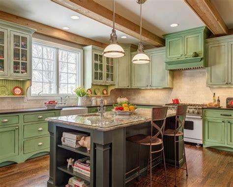 cottage kitchen remodel green kitchen cabinets houzz 2658