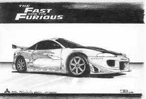 Mitsubishi Eclipse Fast and Furious Car Drawings