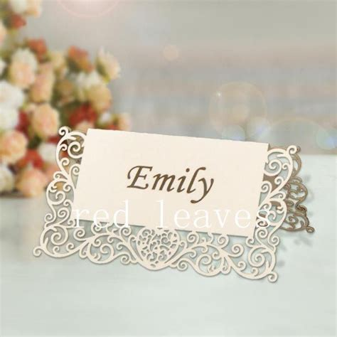 pcs laser cut heart lace place card xcm
