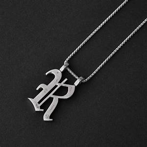 large old english letter necklace round box chain na With old english letter pendants