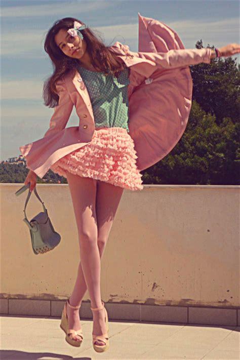 light pink tights light pink chicwish skirts light pink romwe coats light