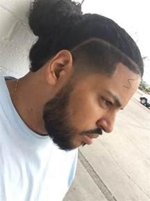 man bun  temp fade taper fade beard gang mens
