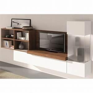 Meuble Tv Mural Blanc : meuble tv mural florencia couleur noyer blanc m achat ~ Dailycaller-alerts.com Idées de Décoration