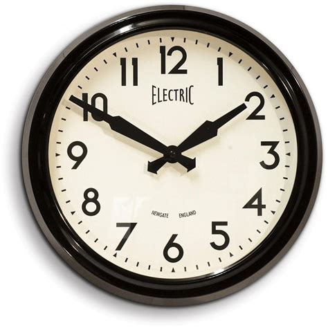 Newgate Clocks 50's Electric Black Wall Clock Newgate