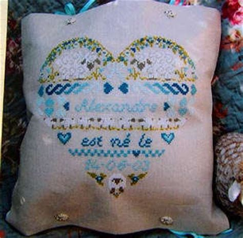 cuscini nascita punto croce alexandre schema punto croce cuscino cuore nascita