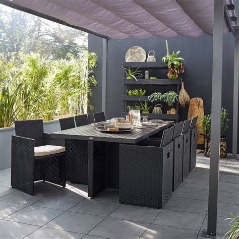 salon de jardin encastrable resine tressee noir