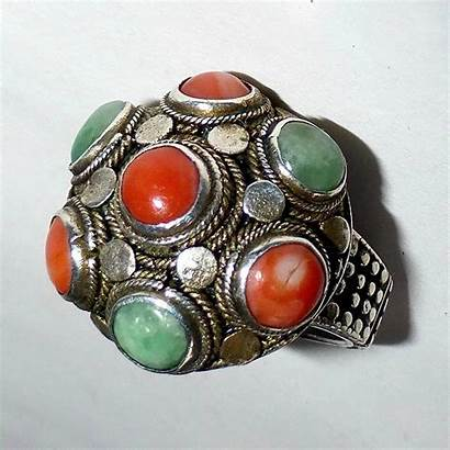 Jade Ring Antique Chinese Coral Sterling Bejewelled