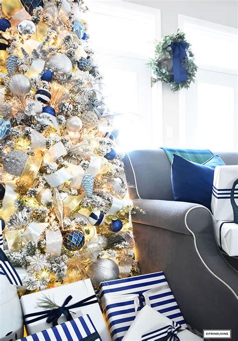 flocked christmas tree  navy light blue silver