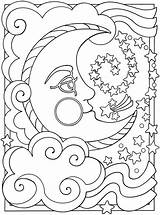 Coloring Star Pages Printable Stars Sheets Adult Moon Sheet Sun Nautical Music Space Luna Night Detailed Planet sketch template