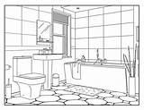 Coloring Bathroom Pages Adults Around sketch template