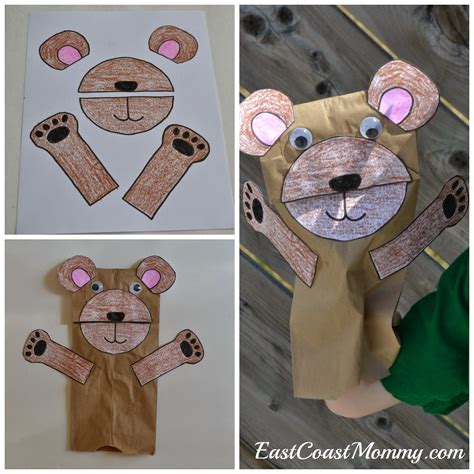 east coast number crafts number five teddy 680 | paper bag bear puppet